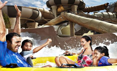 Family at a Dubai waterpark