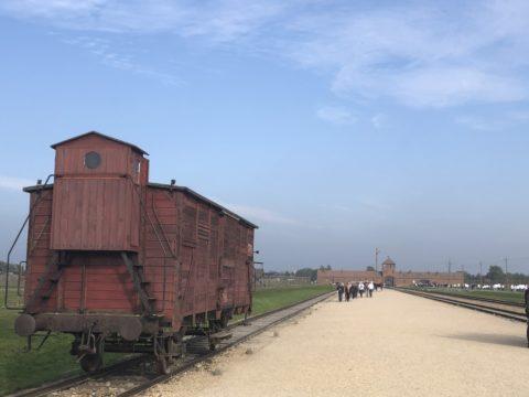The entrance and railroad at Birkenau