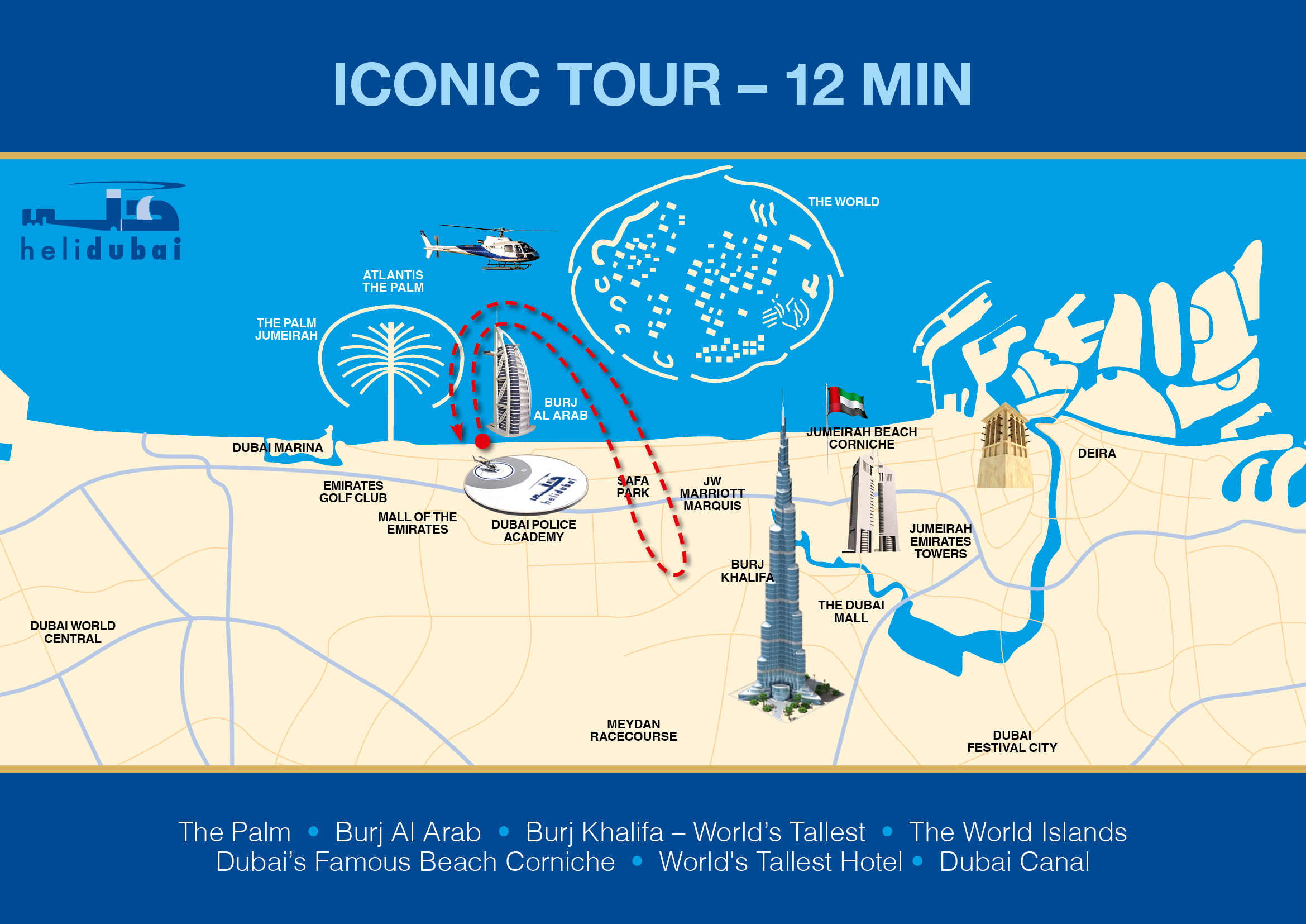 Dubai helicopter tours attractiontix view 12 minute route map please click here gumiabroncs Images