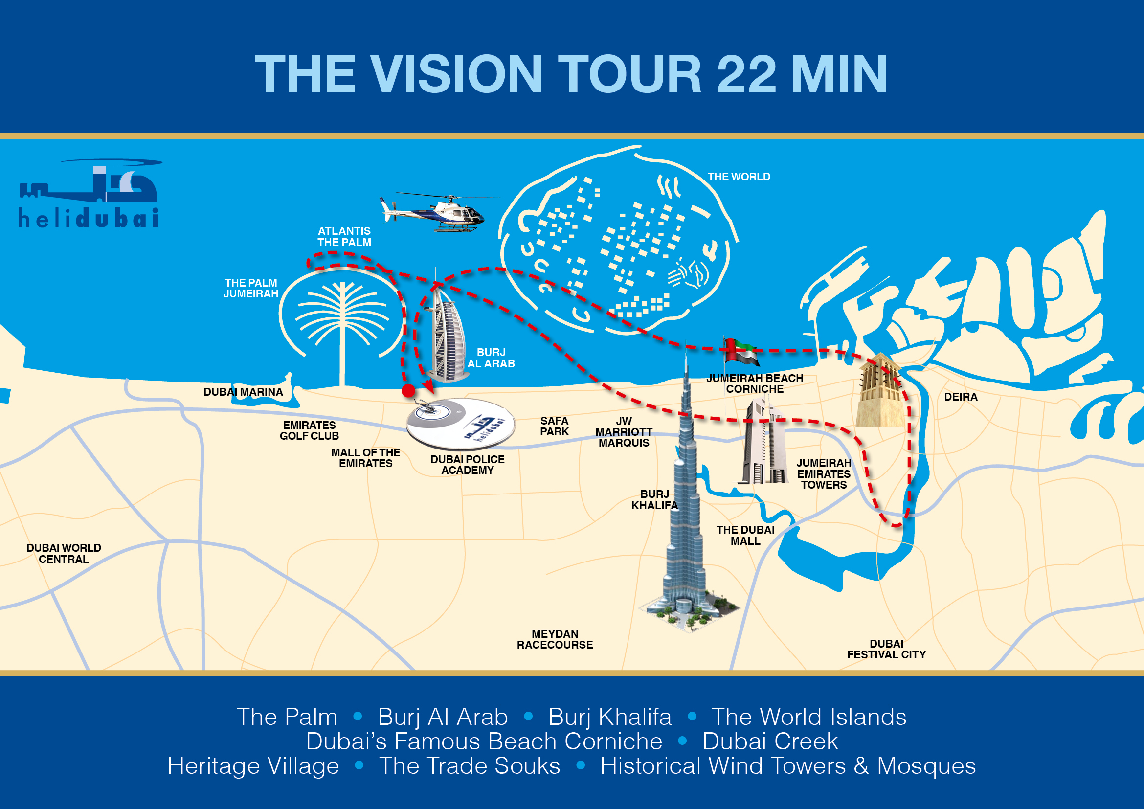 Dubai helicopter tours attractiontix view 22 minute route map please click here gumiabroncs Image collections