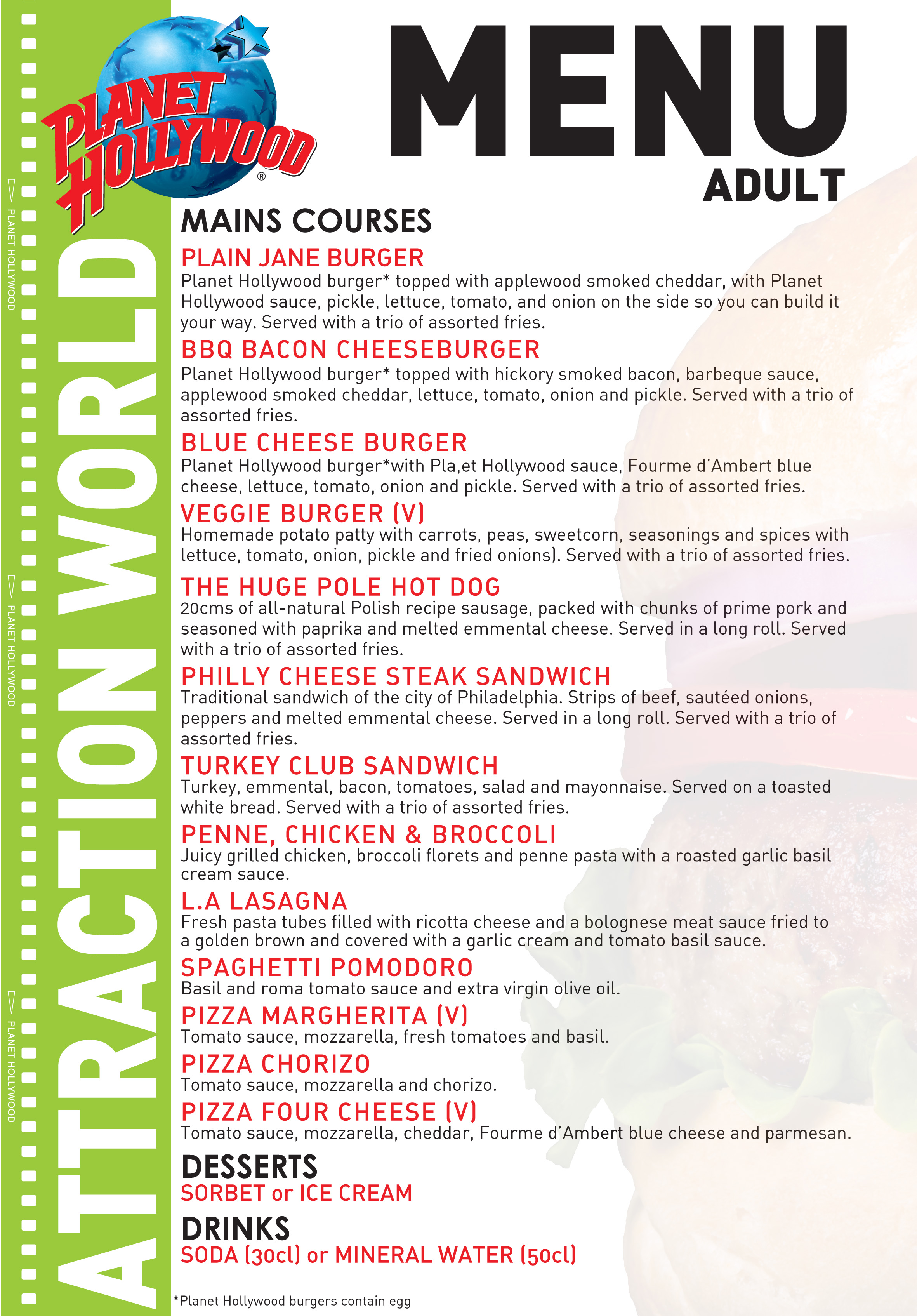 Book A Meal At Planet Hollywood Disneyland Paris Attractiontix