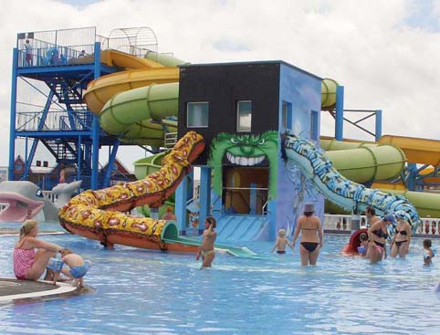 Children at Aquapark Costa Teguise Lanzarote waterpark
