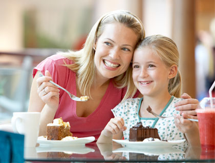 Kids Eat Free Orlando- Mother And Daughter Eating Their Desserts