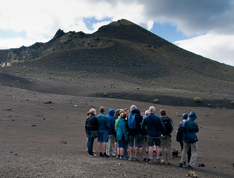 Group people Lanzarote Lunar Landscape