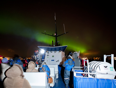 People on board boat Northern Lights Iceland