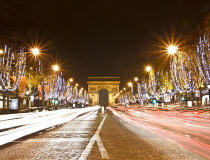 Paris Christmas Lights Tour- Lights on Chistmas Day at the Champs Elysees