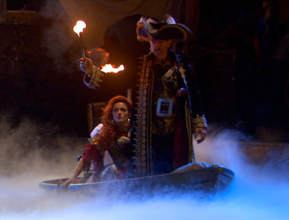 Pirates Dinner Adventure Orlando- Captain Sebastian the Black And His Wife Treasure On A Small Boat