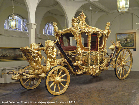The Royal Mews at Buckingham Palace- The Gold State Coach in the Gold State Coach House