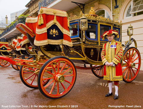 The Royal Mews at Buckingham Palace- The Irish State Coach and a Coachman in Full State Livery