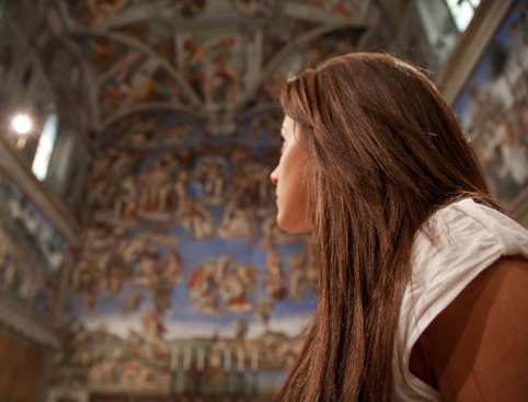 Girl inside Sistine Chapel