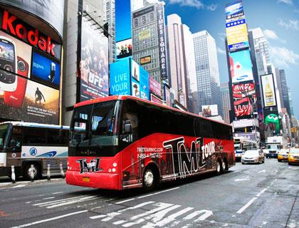 TMZ New York Celebrity Hotspots- Bus Travelling through New York